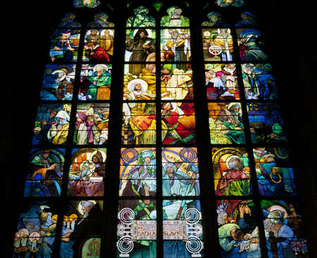 Stained glass window of St  Vitus Cathedral