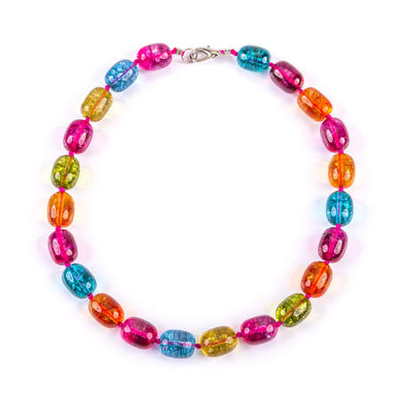 frippery: glass bead necklace isolated on white