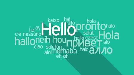 Hello speech cloud in languages of the world 일러스트