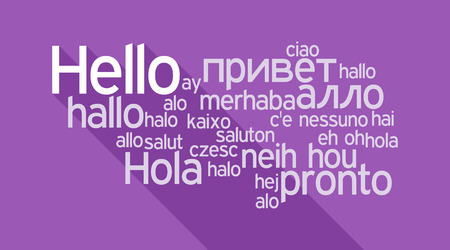 Hello speech cloud in languages of the world Vetores