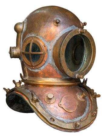 Alte antike Metall Scuba Helm mit Beschneidungspfad isoliert auf weißem Hintergrund Standard-Bild - 37256192