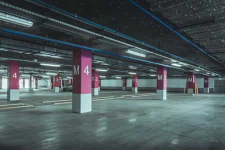 Empty parking lot wall. Urban, industrial background. 写真素材