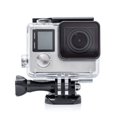 Close up color shot of a small action camera.
