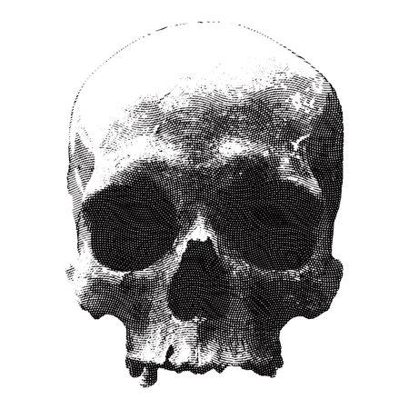 Engraved design for t-shirt print with skull and textures. Ilustração