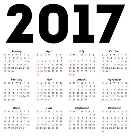 Kalender voor 2017 op een witte achtergrond. Vector EPS10. Stock Illustratie