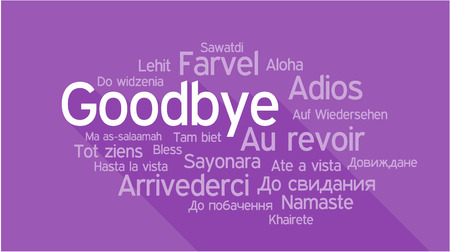 GOODBYE in different languages, words collage vector illustration. Vettoriali