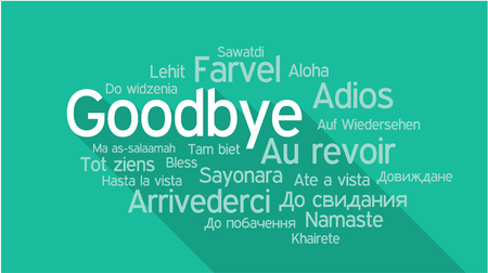 GOODBYE in different languages, words collage vector illustration. Ilustracja