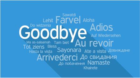 Afscheid in verschillende talen, woorden collage vector illustratie.