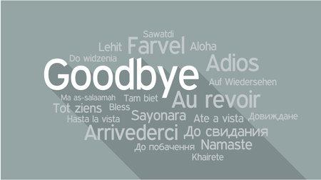 POŻEGNANIE w różnych językach, słowa collage ilustracji wektorowych.