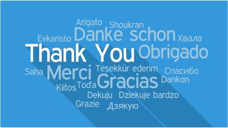 DANK U in verschillende talen, woorden collage vector illustratie.
