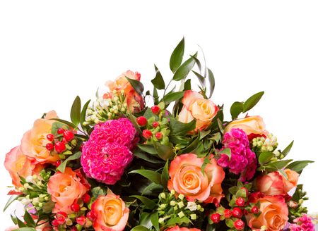 Bouquet of flowers top view isolated on white. Banque d'images