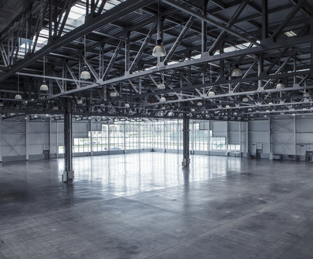 Interior of an empty warehouse with glass wall Stock Photo - 44113742