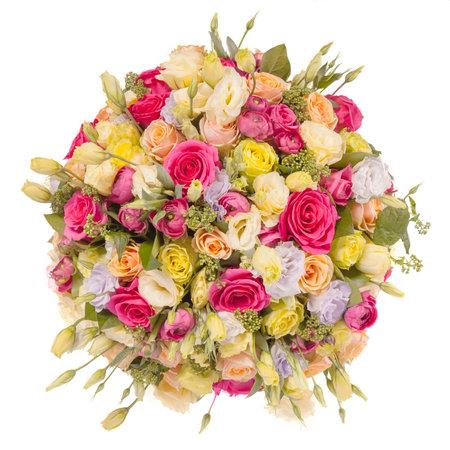 꽃의 꽃다발 상위 뷰 화이트 격리입니다. 스톡 콘텐츠