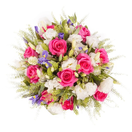Bouquet of flowers top view isolated on white. 免版税图像