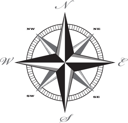 Wind rose compass retro design vector. 矢量图像
