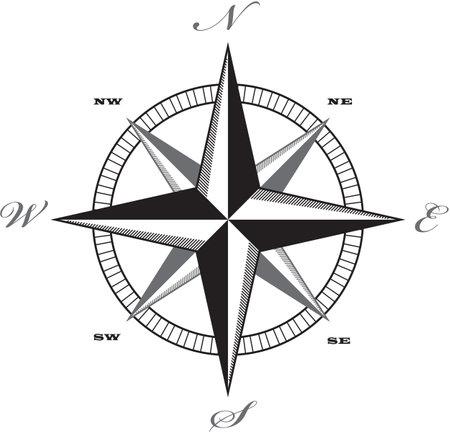 Wind rose compass retro design vector. Stock Illustratie