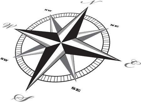 Wind rose compass retro design vector. Vettoriali