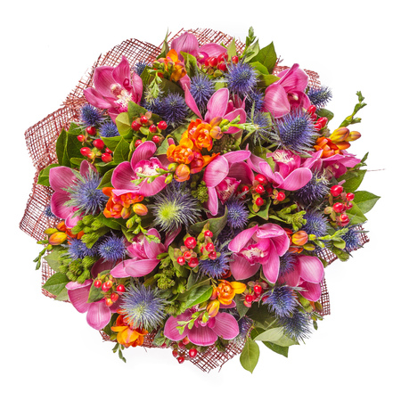 Bouquet of flowers top view isolated on white. Banco de Imagens