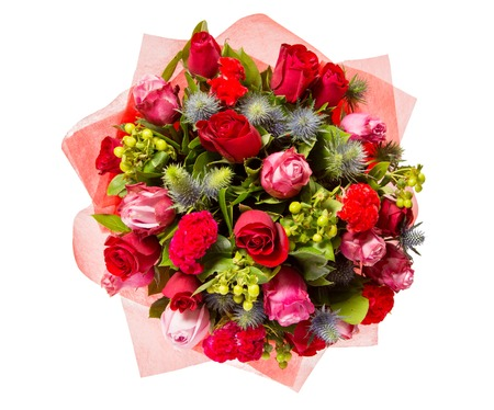 Bouquet of flowers top view isolated on white. Standard-Bild