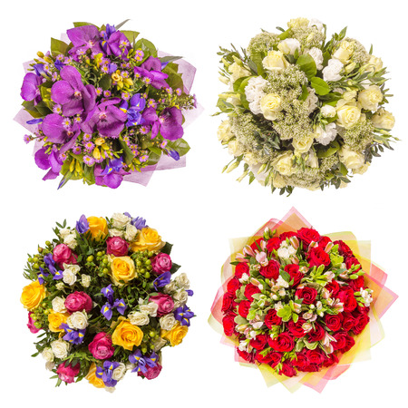 Top view of four colorful flower bouquets. 版權商用圖片