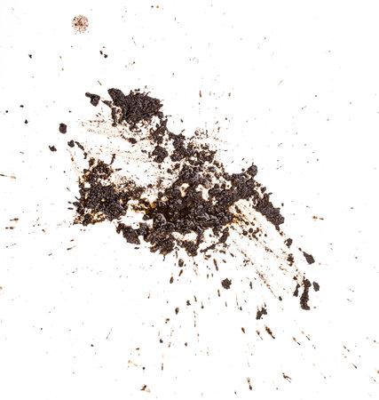 Modder splat patroon geïsoleerd op een witte achtergrond. Stockfoto