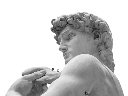 The detail of famous statue of David by Michelangelo.