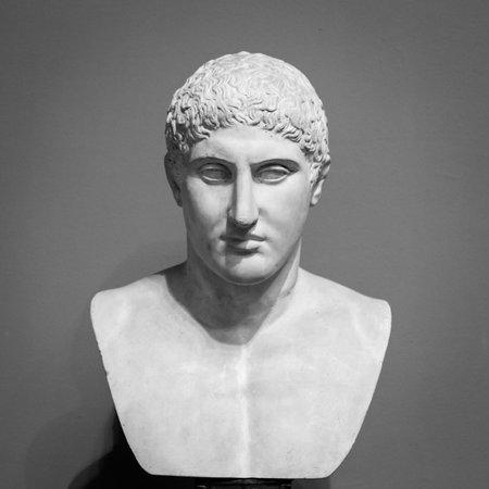 The ancient marble portrait bust. Foto de archivo