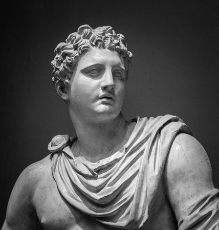 The ancient marble portrait of Meleager.