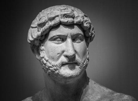 Ancient roman sculpture of the emperor Hadrian, builder of Hadrian's wall. Stock Photo
