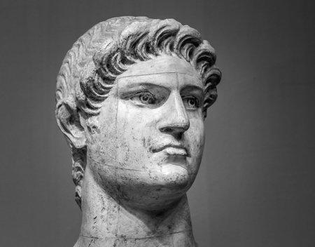 Marble head of Nero Claudius Caesar Augustus Germanicus Roman Emperor from 54 to 68.