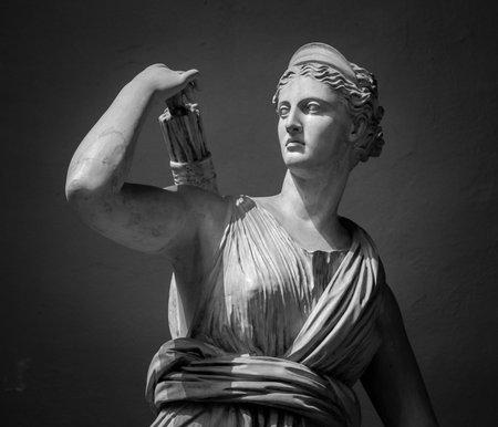 젊은 여자 아르테미스의 흰색 대리석 머리. 스톡 콘텐츠