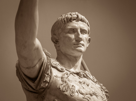 Statue of Roman Emperor Augustus on the via dei Fori Imperiali Stock Photo