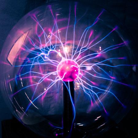 Plasma ball rays in the dark. Standard-Bild