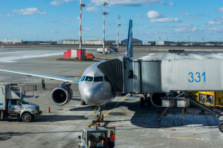 Moscow, Russia - March 25, 2017 Aircraft maintenance at Moscows Sheremetyevo airport. Editorial