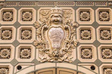 Detail design of the ceiling, caisson in the form of a flower, the train station Orsay Orsay Museum. Paris. France