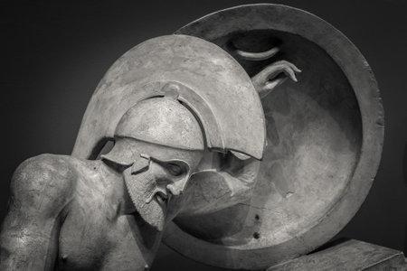 Head and shoulders detail of the ancient sculpture Banco de Imagens