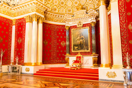 Saint Petersburg, Russia - May 12, 2017: Royal throne, Interior of the State Hermitage, a museum of art and culture in Saint Petersburg, Russia. Editorial