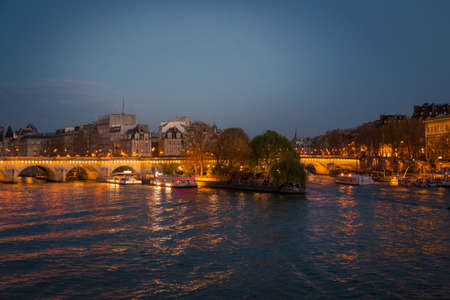 Paris Panorama. Panoramic image of Paris riverside during sunrise Stock Photo