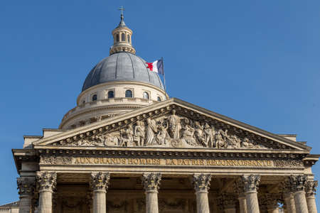 Top of the facade of the pantheon in Paris