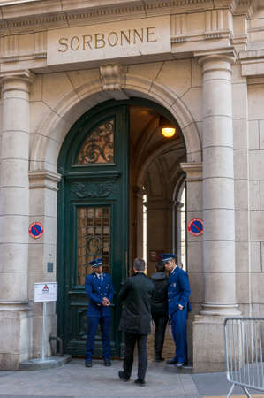 Paris, France, March 27 2017: The University of Paris, Sorbonne university, famous university in Paris, founded by Robert de Sorbon 1257 - one of first colleges in Europe. Faculty of Law