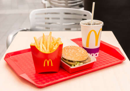 Moscow, Russia, March 15 2018: McDonalds Big Mac hamburger menu, French Fries and Coca Cola Redakční