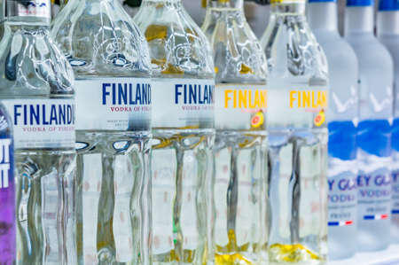 Moscow, Russia - March 12, 2018: Finlandia vodka. The famous vodka brand. Alcohol product in a Shop