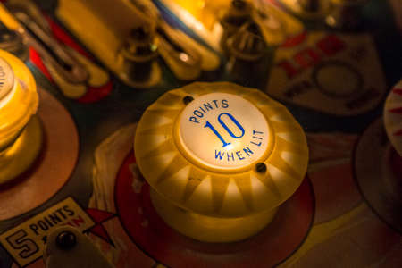 Pinball table close up view of vintage game machine