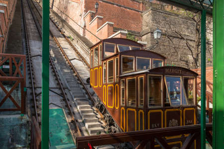 Budapest, Hungary, March 22 2018: Funicular to Buda Castle in located in Budapest, Hungary
