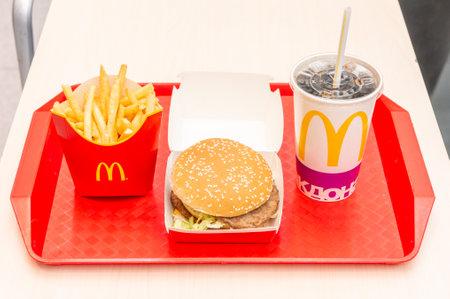 Moscow, Russia, March 15 2018: McDonalds Big Mac hamburger menu, French Fries and Coca Cola