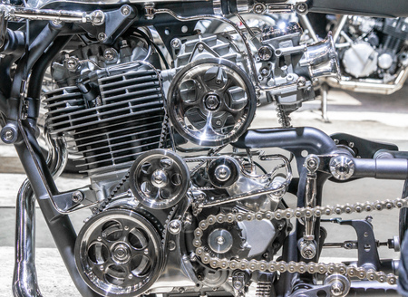 Car engine, concept of modern vehicle motor with metal, chrome, plastic parts, heavy industry Reklamní fotografie