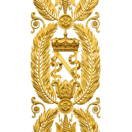 Golden Armorial bearings of Napoleon Bonaparte, gates on white Stock Photo