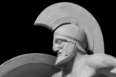Roman statue of warrior in helmet 스톡 콘텐츠