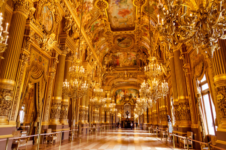Paris, France, March 31 2017: Interior view of the Opera National de Paris Garnier, France. It was built from 1861 to 1875 for the Paris Opera house Redactioneel
