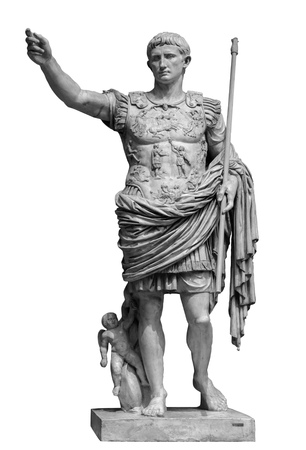 Roman emperor Augustus from Prima Porto statue isolated over white background. Stock Photo
